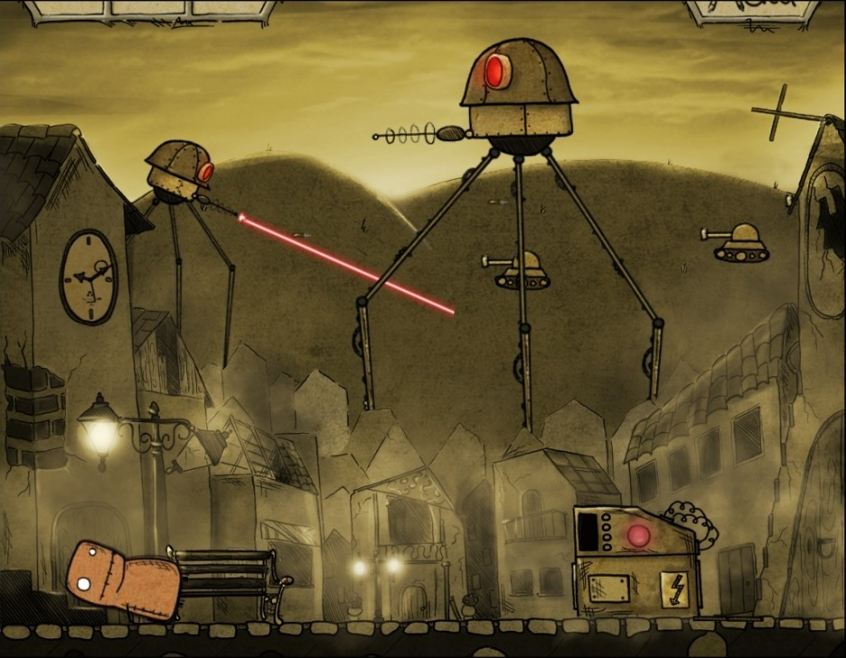 War of worlds robots destroying town
