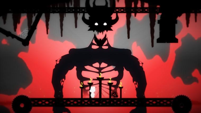 Elin against a large horned demon