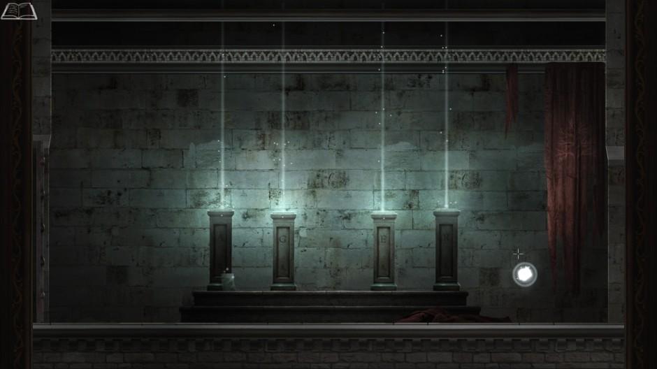 four short pillars stand in a line each sending up a beam of light
