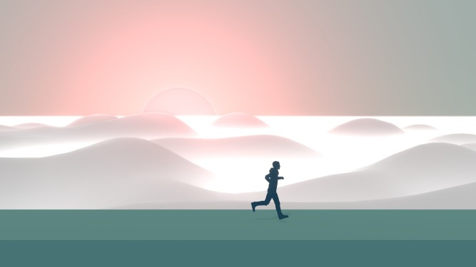 silhouette of a man in from of a sunrise