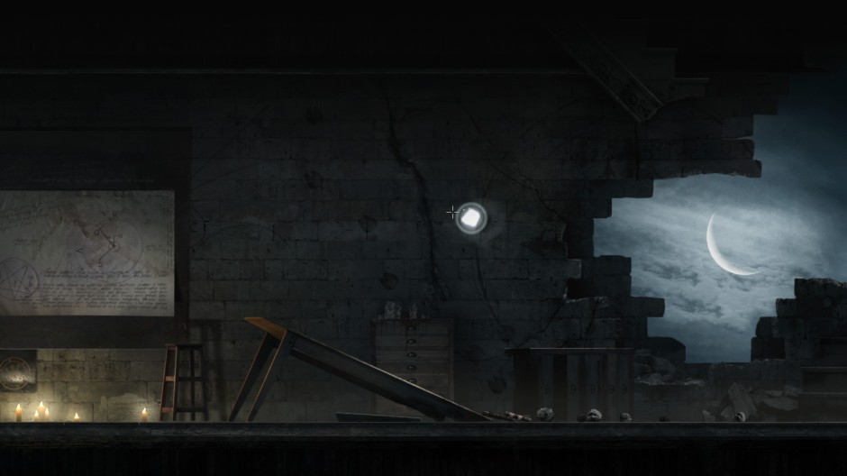 a partially destroyed stone room shows the moon through a large hole in the wall