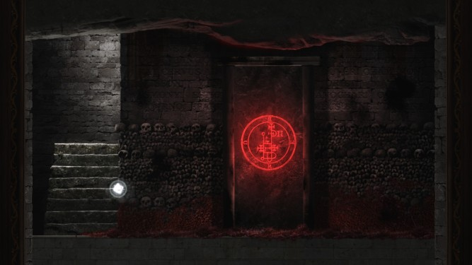 a glowing red symbol on a sealed stone door surrounded by bones