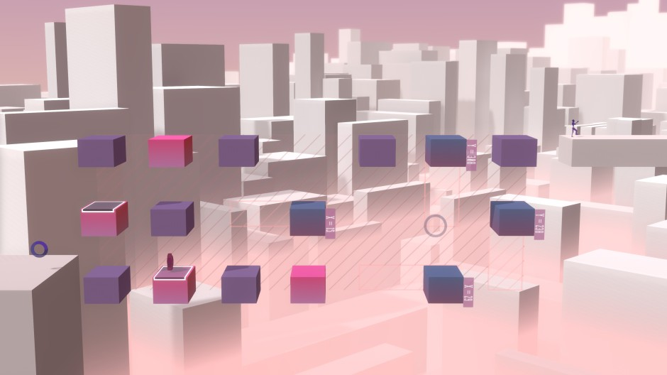 15 blocks are suspended in a grid
