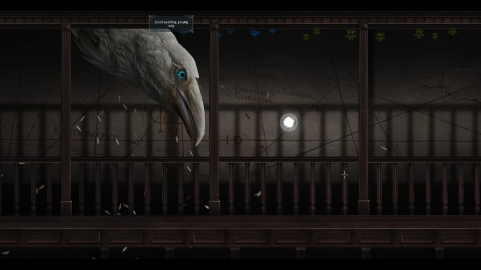 A monstrous white raven descends from the ceiling to speak with Abigail
