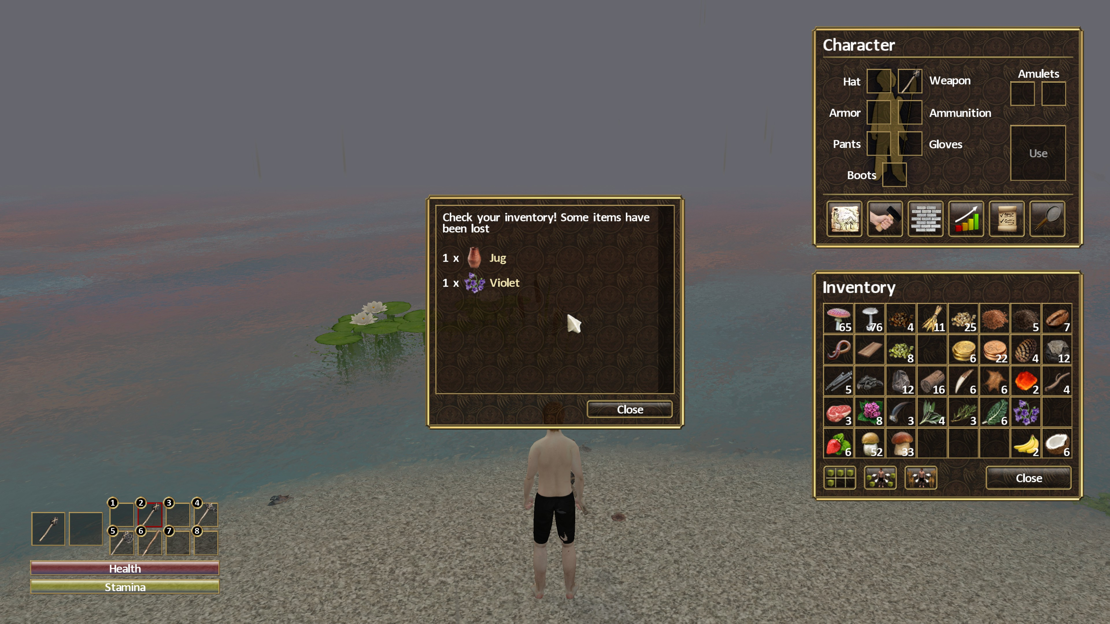 In-game window text: check your inventory! some items have been lost. 1 jug, 1 violet