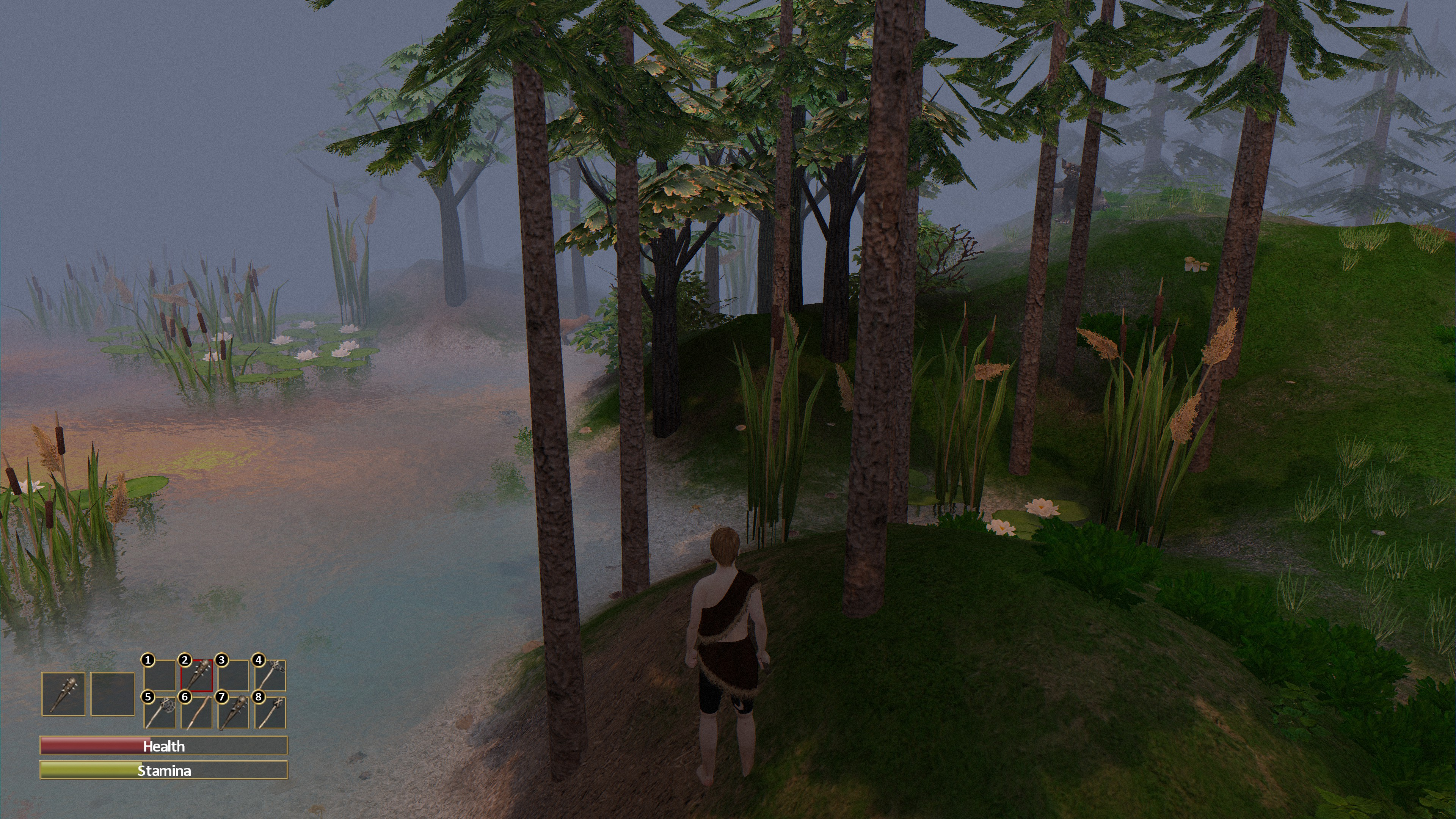 Character hides behind trees along the water while watching a goblin