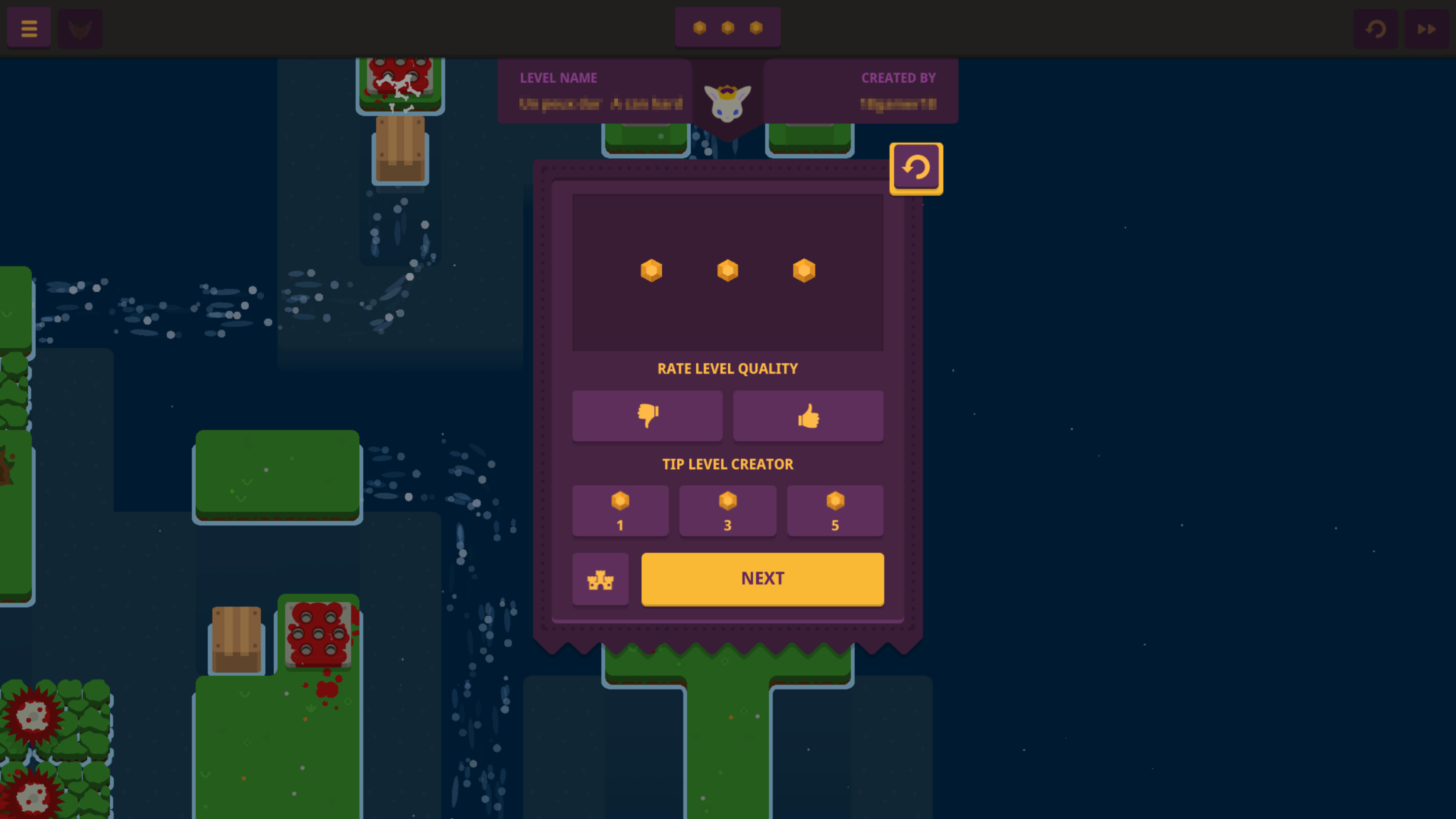 After level screen with a thumbs up or down for level quality and an option to tip the level creator 1, 3, or 5 gems