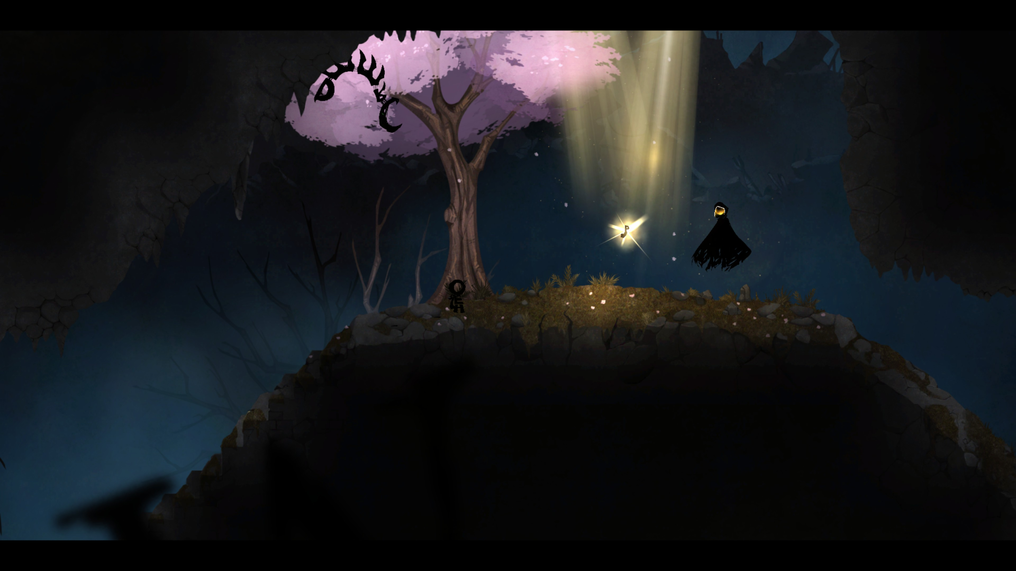 the main character HERO sees his missing arm (the letter P) in a ray of light beside MUSE. GREED looks upon the scene.