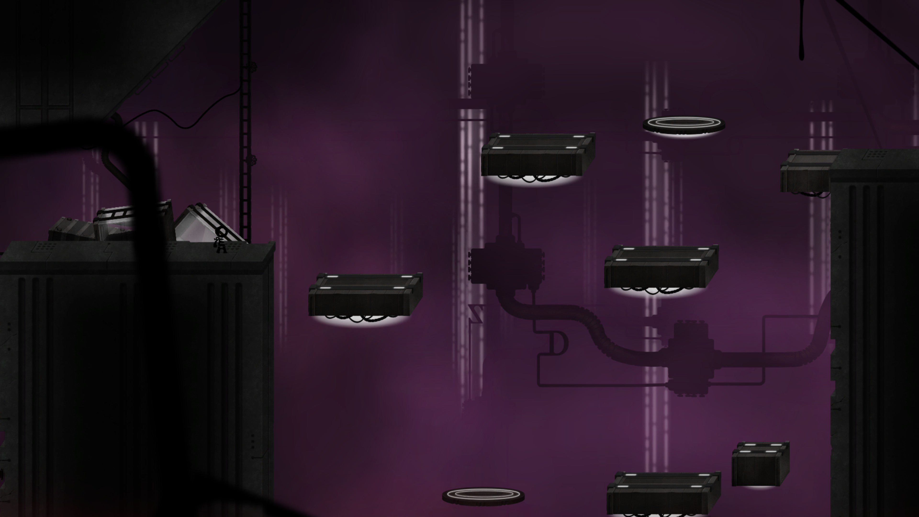 main character stands before a gap filled with 4 solid rectangle platforms and 2 floating circle platforms