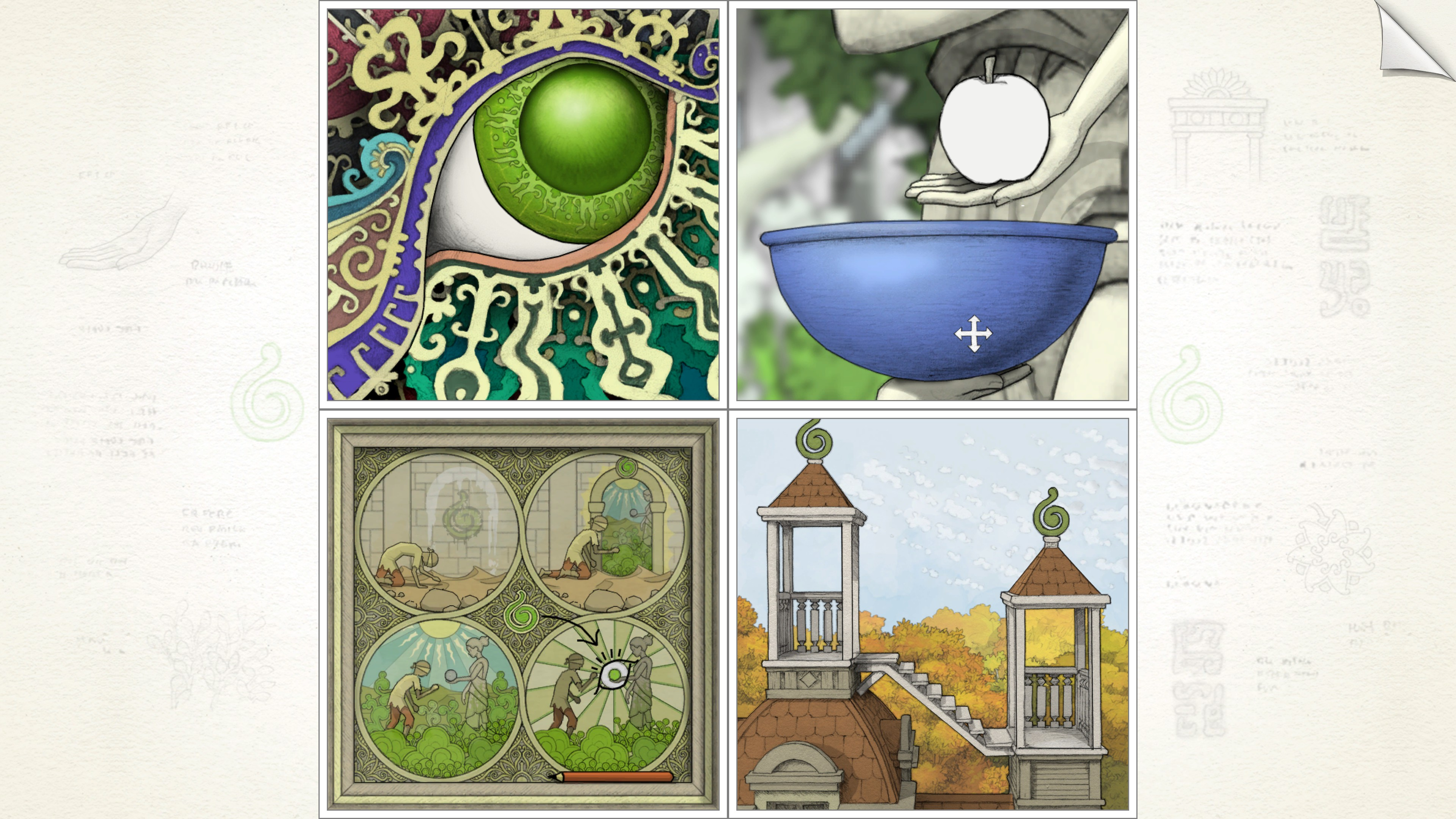 top left, ornate green dragon eye. top right, statue holding a colorless apple over a bowl. bottom right, two towers with stairs between them. bottom left, a diagram showing a man going from a desert into a garden and receiving a green apple from a statue. an eye is drawn over the apple in the diagram.