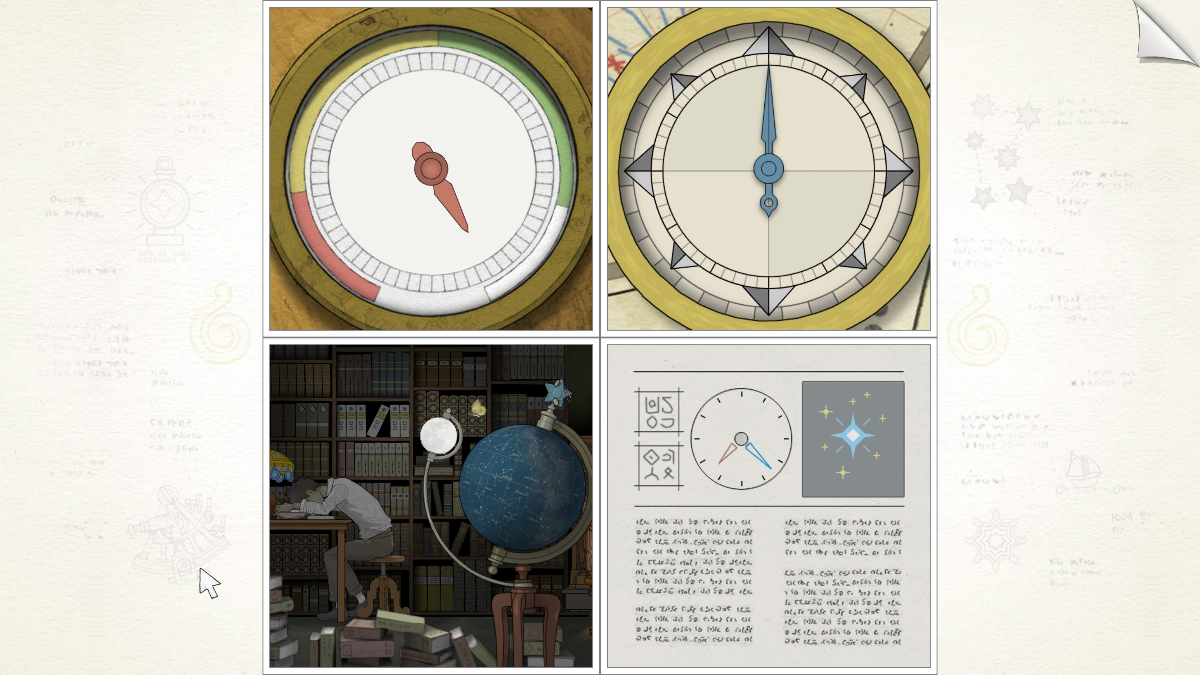 top left, red pressure dial. top right, blue compass needle. bottom right, diagram of a star and clock using red and blue hands. bottom left, young man asleep at a library desk with a globe in the foreground.