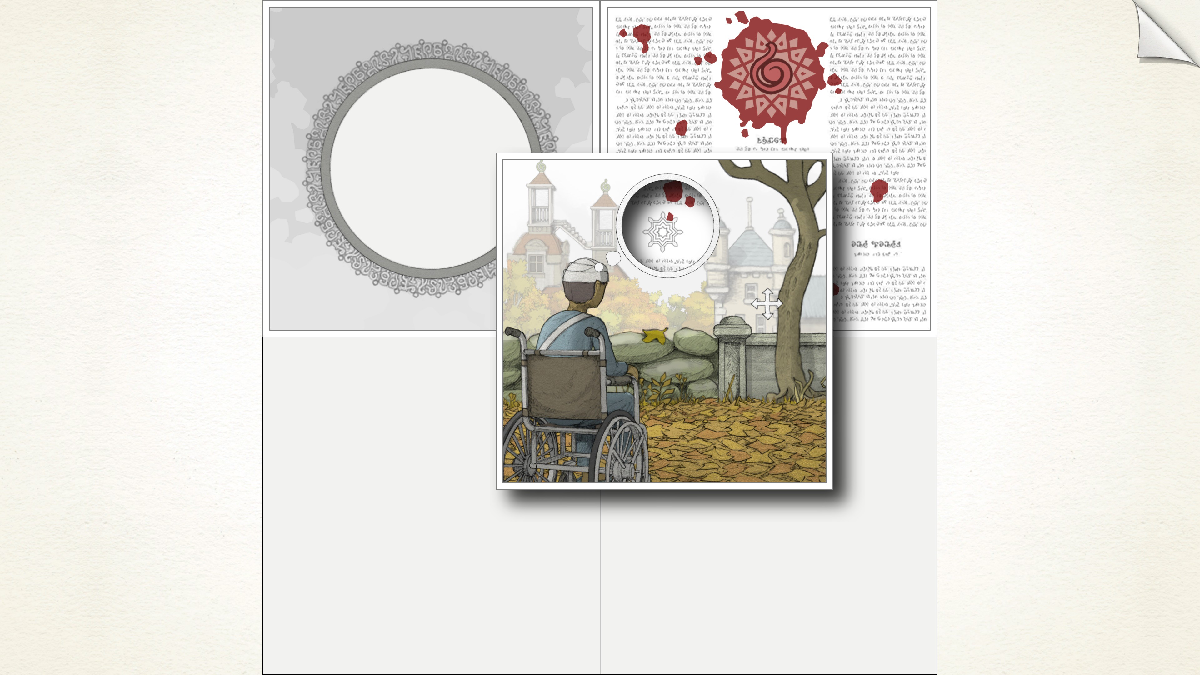 top left, grey circular photo frame. top right, passage of text with a bloody red symbol at the top. center, one scene is being lifted up and dragged atop the others. It's a scene of a young man injured and in a wheel chair. His thought bubble is empty and the other scenes can be viewed through the hole. If lined up over the top right image, the bloody symbol would perfectly fit in his thought bubble.