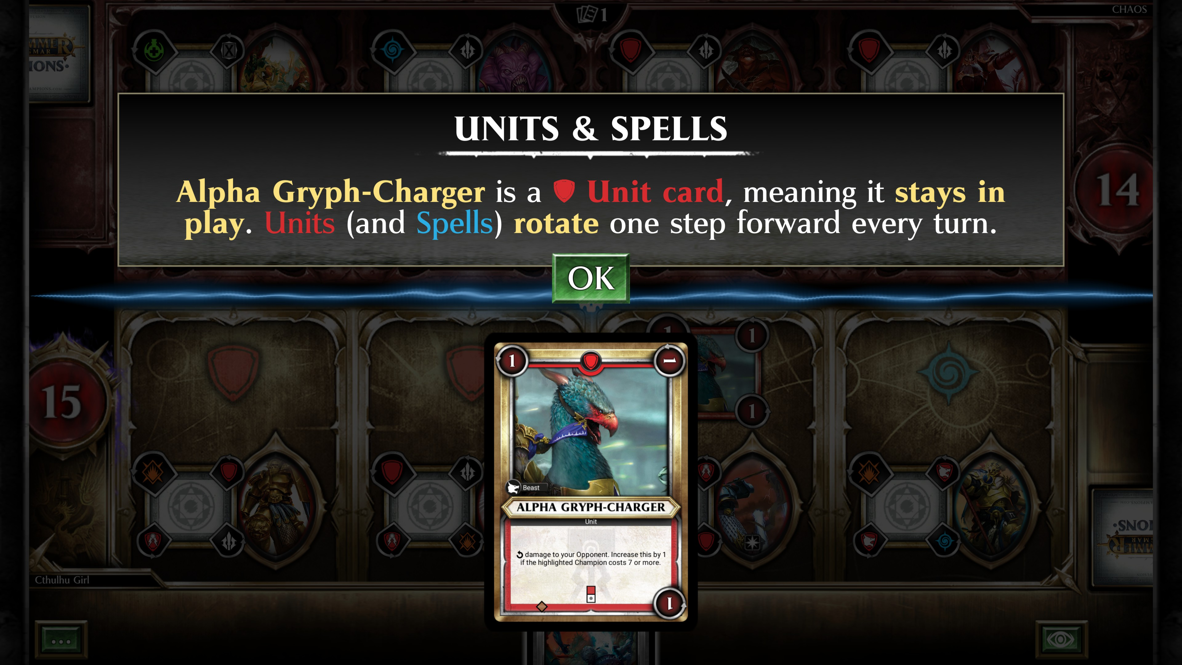 units and spells description: Alpha Grph-Charger is a unit card, meaning it stays in play. Units (and spells) rotate one step forward every turn