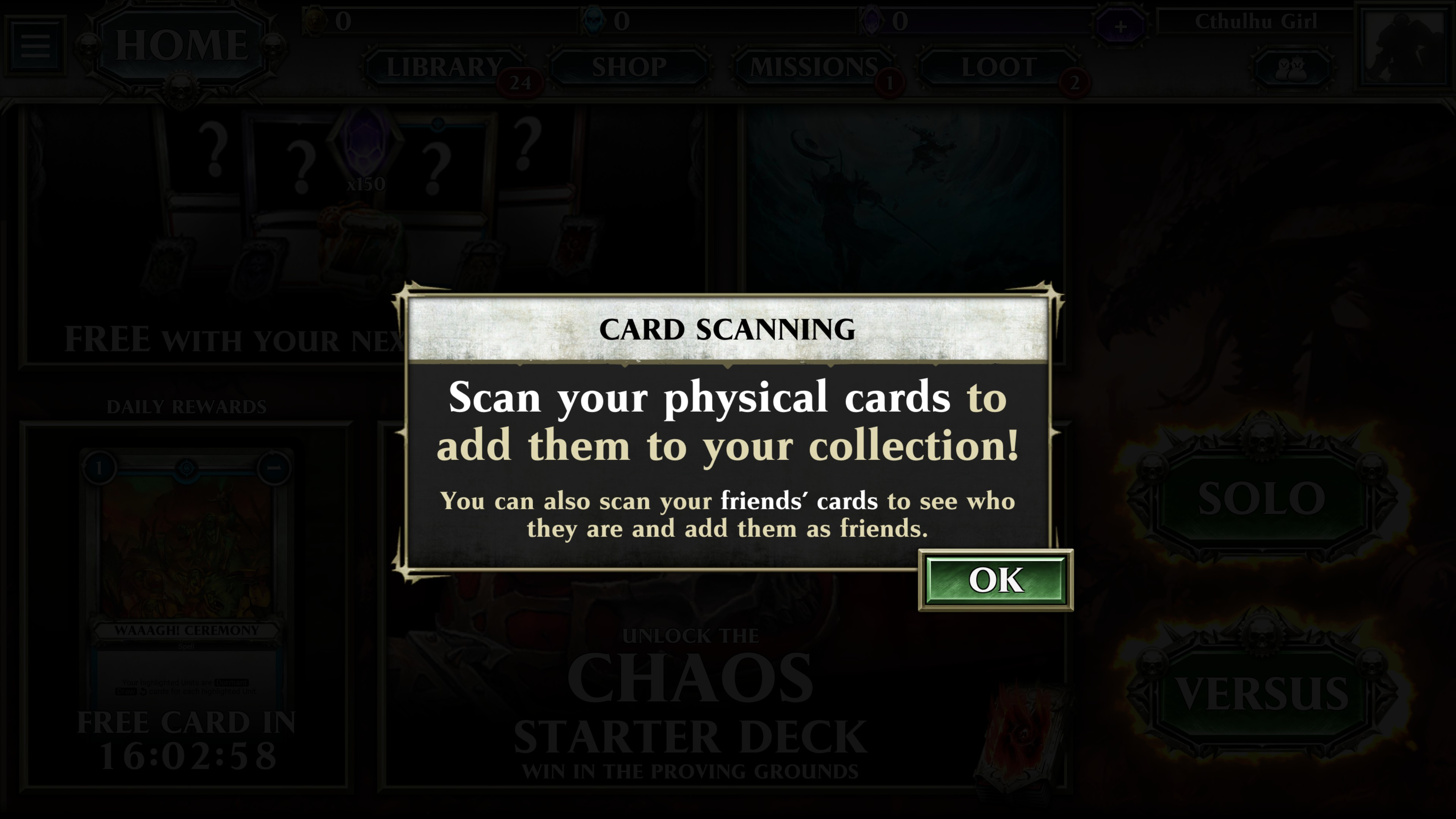 Popup window reading: card scanning. scan your physical cards to add them to your collection! you can also scan your friends' cards to see who they are and add them as friends.
