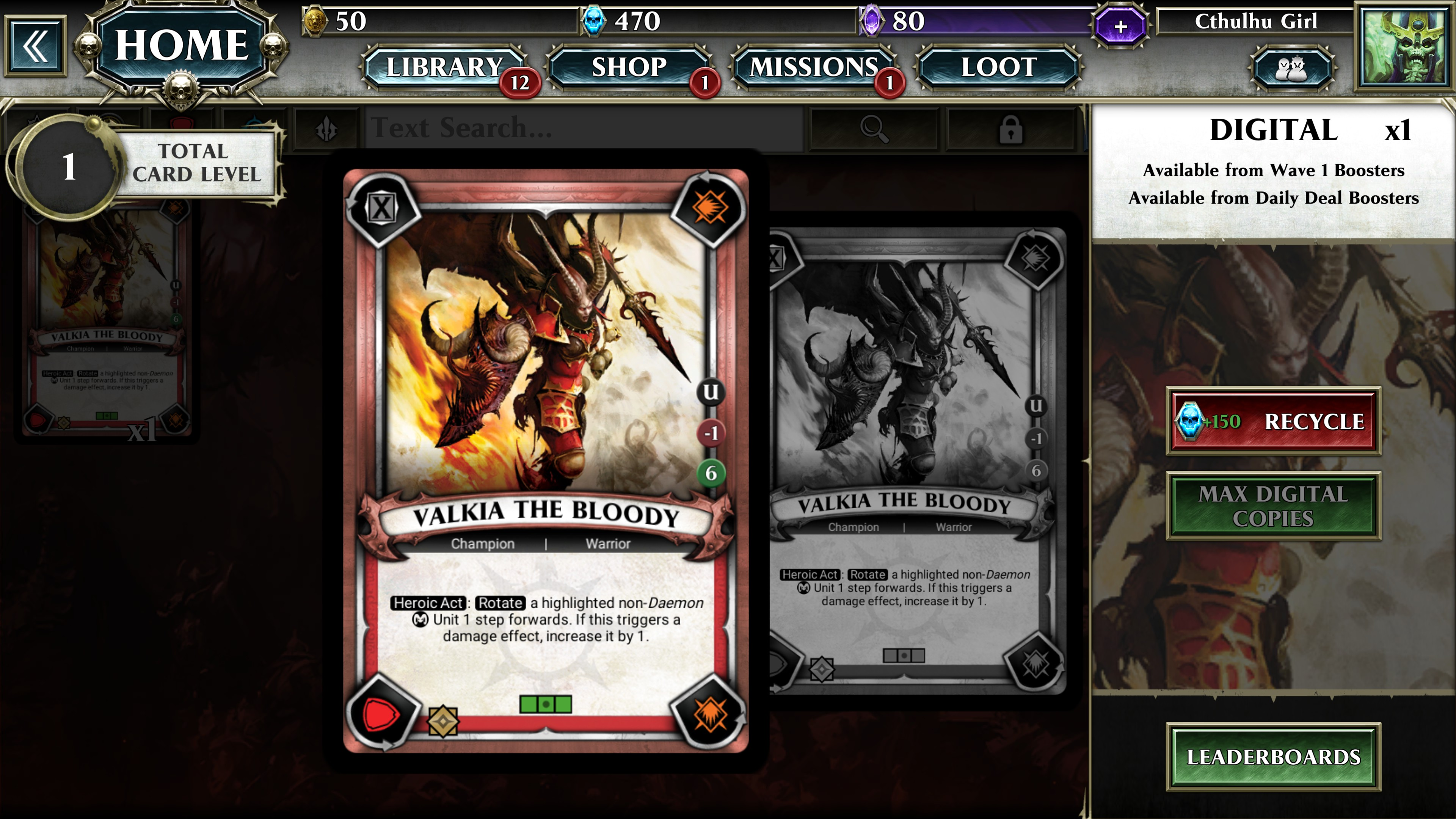Champion card for Valkia the Bloody, a Choas champion. Along the right side of the card is the letter U a red minus 1 and a green 6