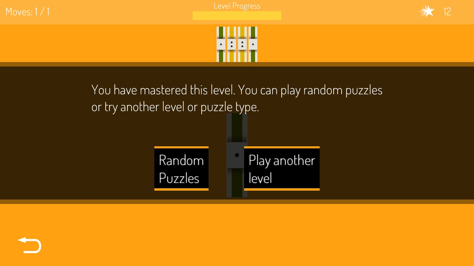 image of text saying: you have mastered this level. you can play random puzzles or try another level or puzzle type. options are random puzzles or play another level