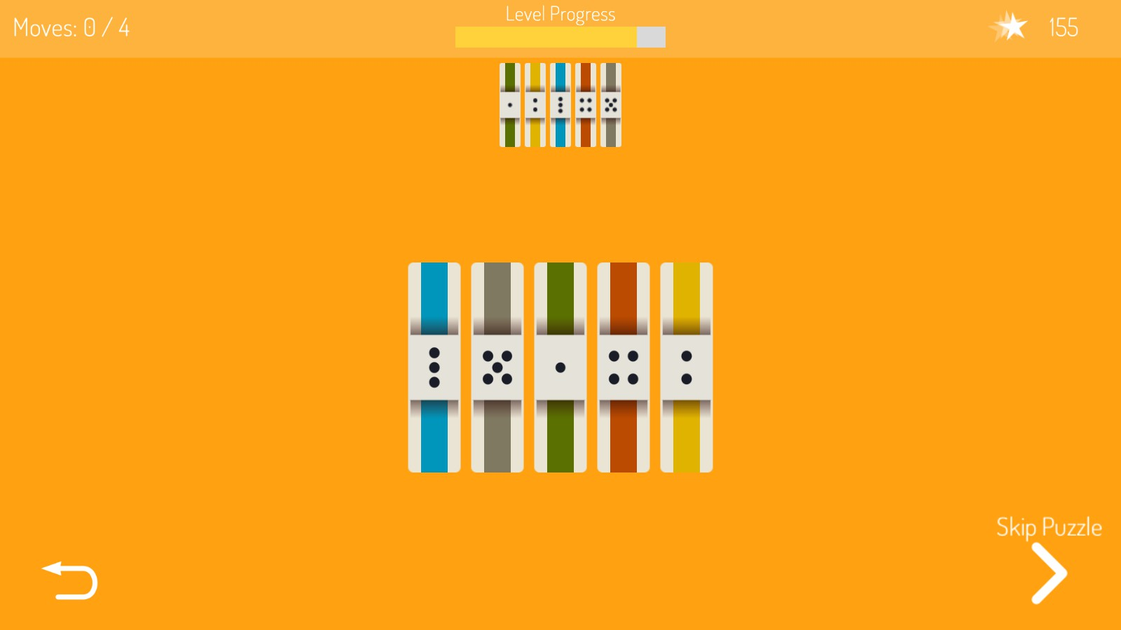 5 piece puzzle with minimum 4 moves, uses symmetrical pieces and contrasting colors