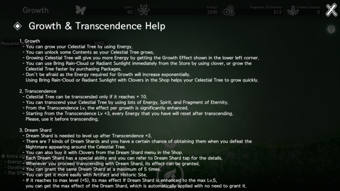 Growth and transcendence help screen featuring 27 lines of tiny text