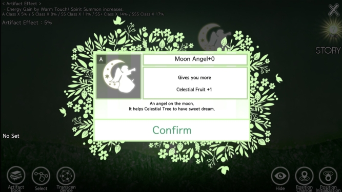 Moon Angel artifact, gives additional celestial fruit. the flavor text says: an angel on the moon, it helps celestial tree to have sweet dream.