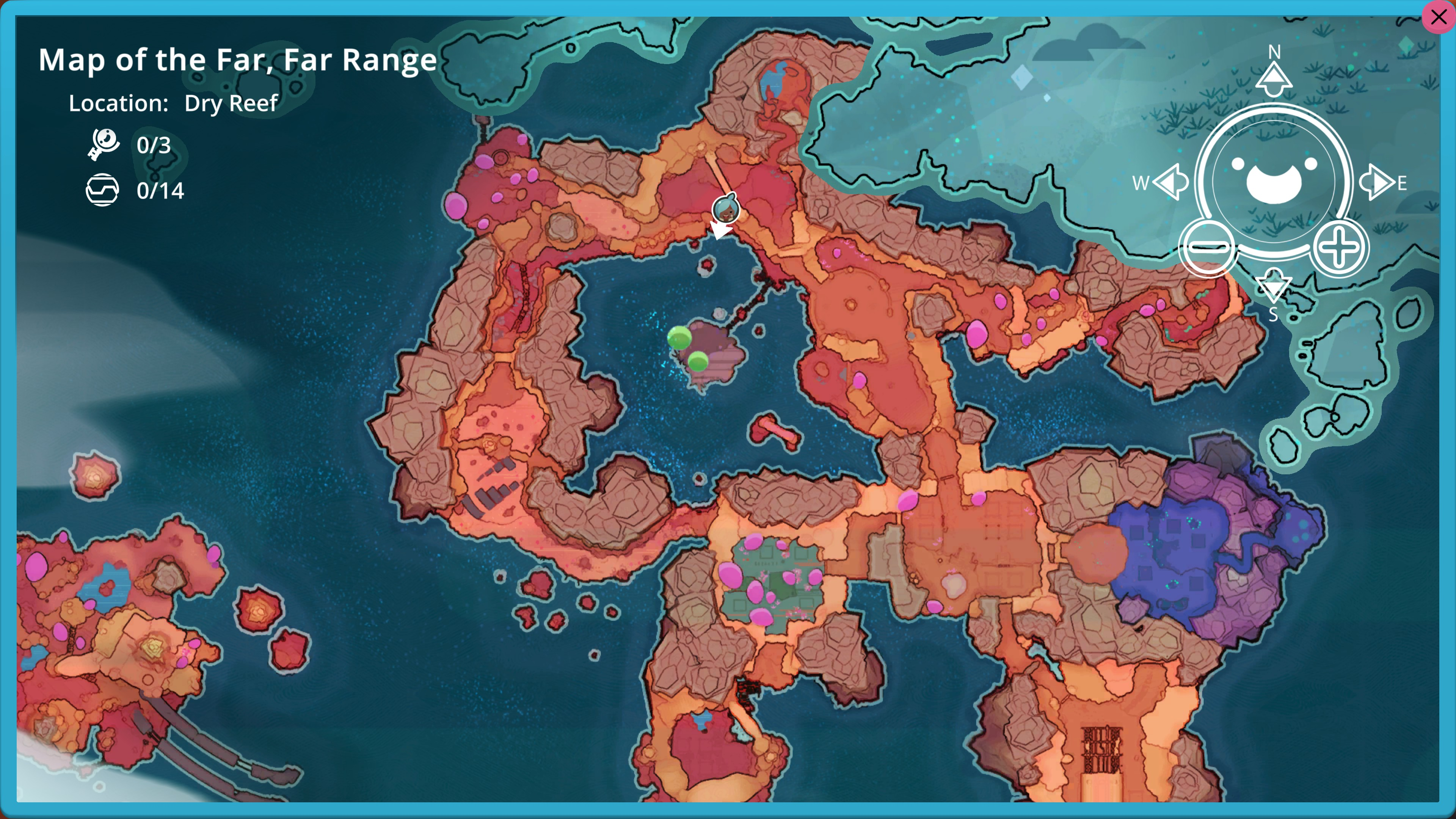 Map of the Far, Far Range. location is Dry Reef, outlined in orange. 3 keys and 14 capsules are listed for the area, but no icons appear on the map itself