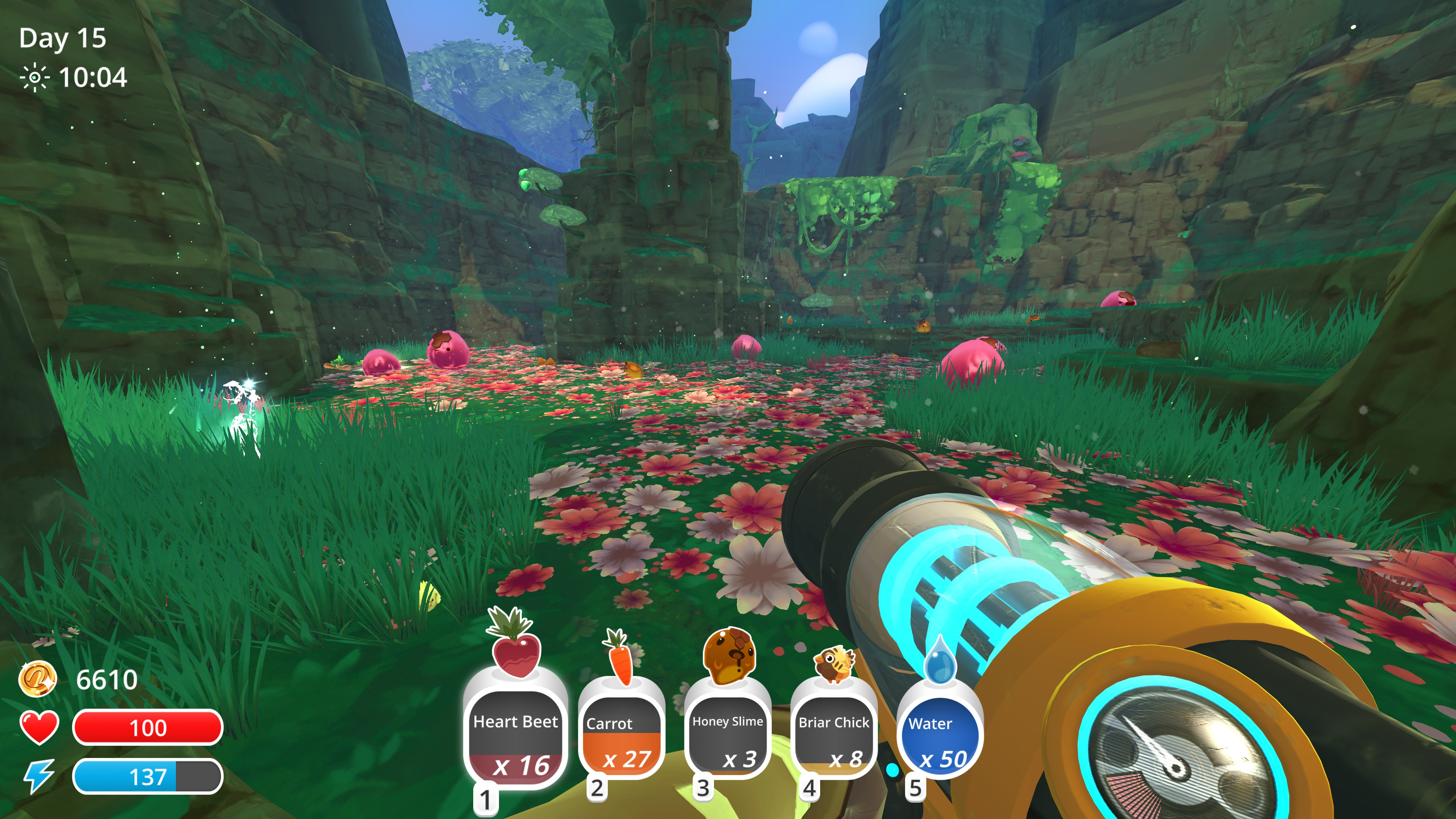 jungle scenee full of moss and flowers, large pink slimes with honeycomb on their forehead move about the grass