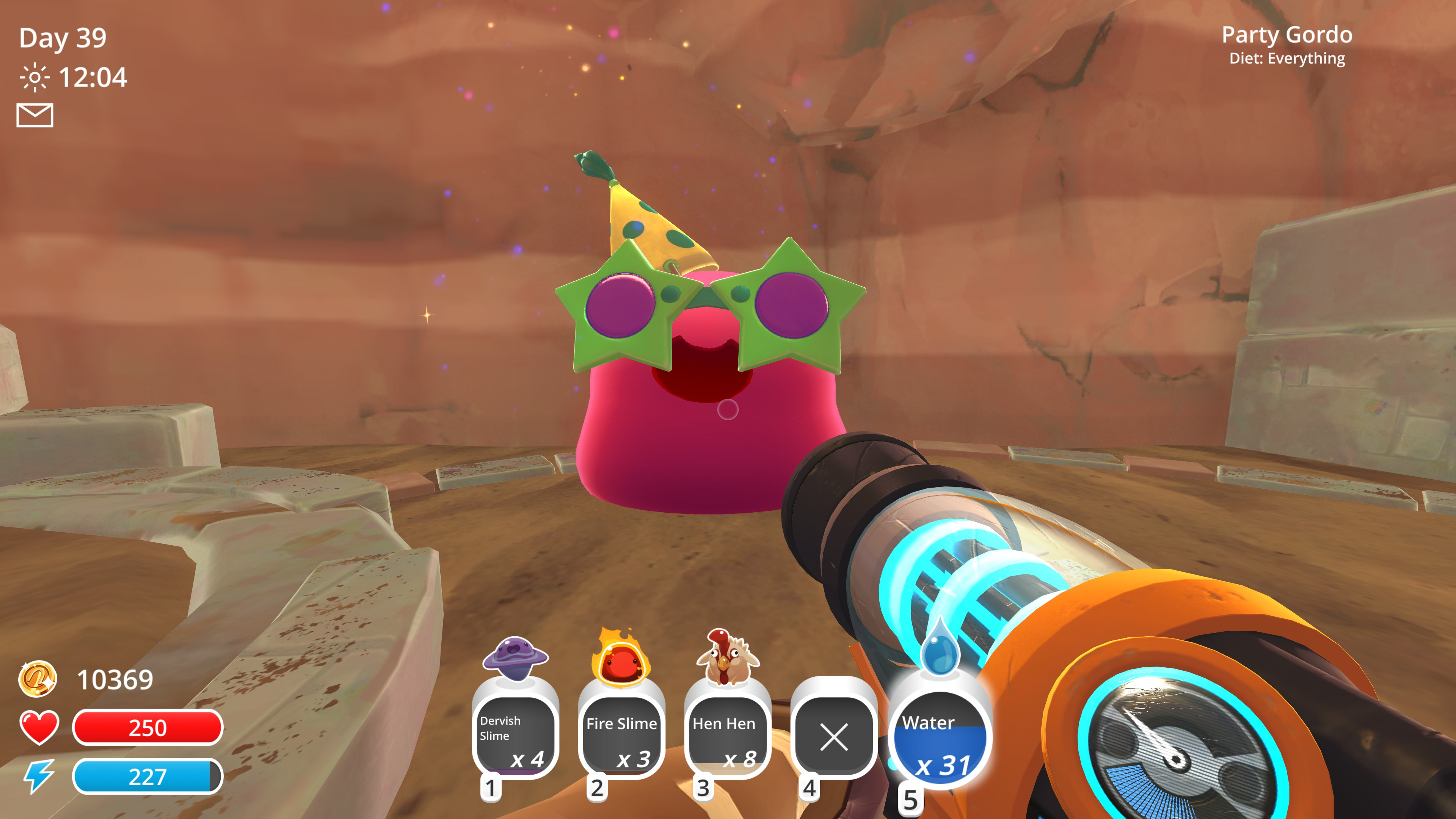 impressively large pink gordo with a party hat and star sunglasses, known as a party gordo