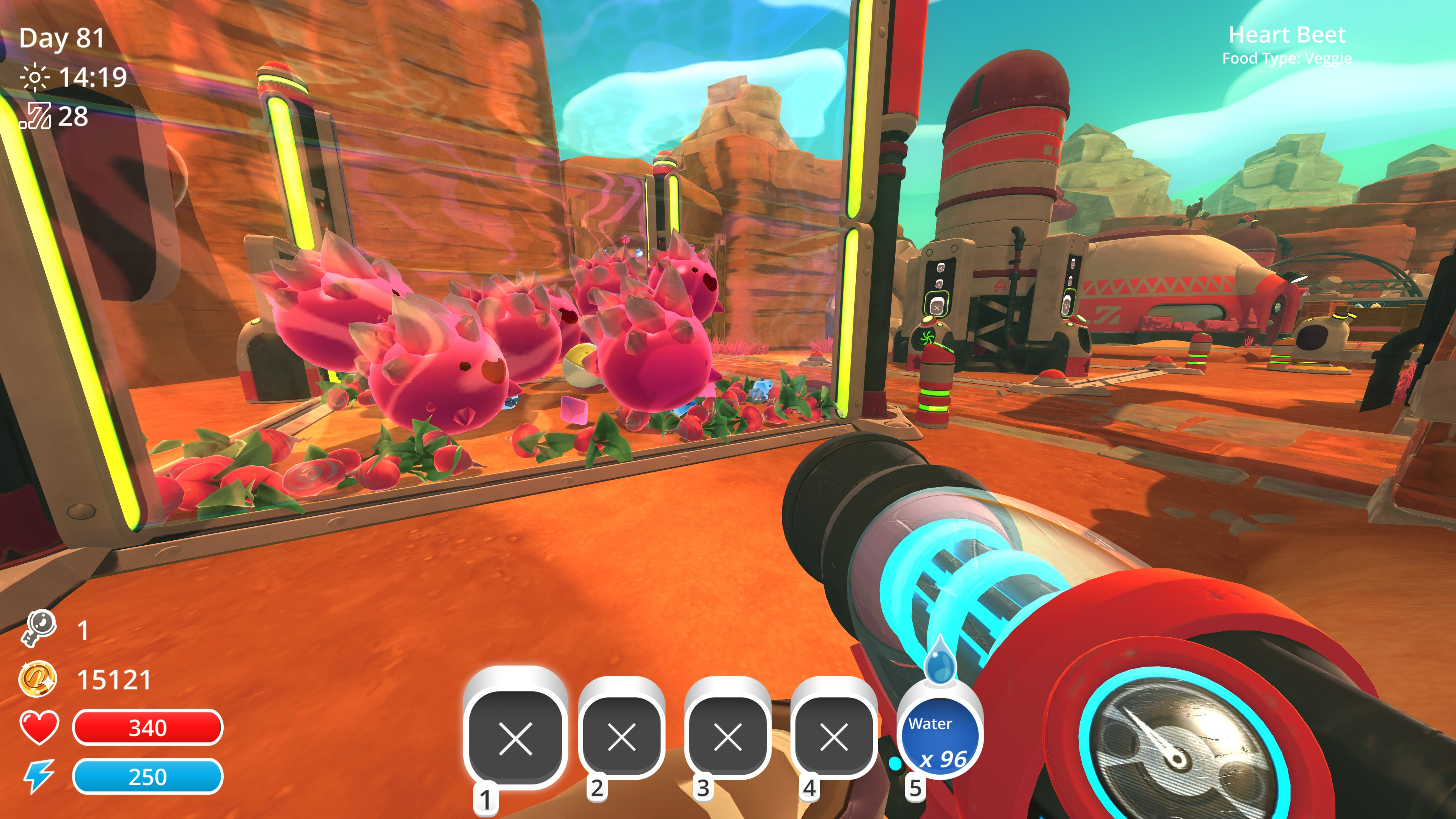 player stands before a large corral full of pink spiky slimes with big smiles. radishes cover the floor and a silo and house stand in the background.