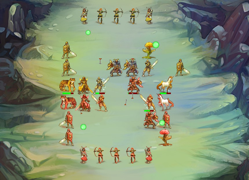 Automatic combat being carried out between two factions. The battle is about mirrored with 9 different types of units in action.