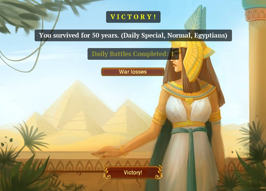 Victory screen saying you survived for 50 years. daily special, normal, egyptians. daily battles completed 1.