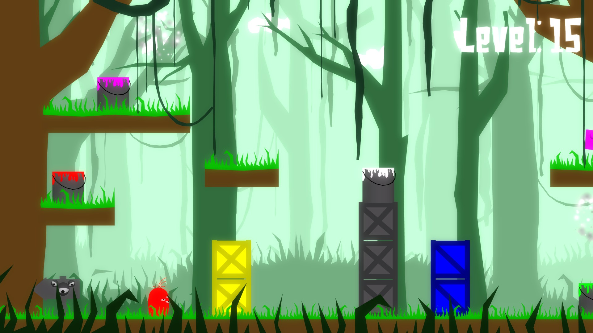 Level 15 of Coated, red character stands before yellow, grey, and blue stacked boxes. Red, white, and pink paint are available in the level. Getting the character to the end while pink is the goal.