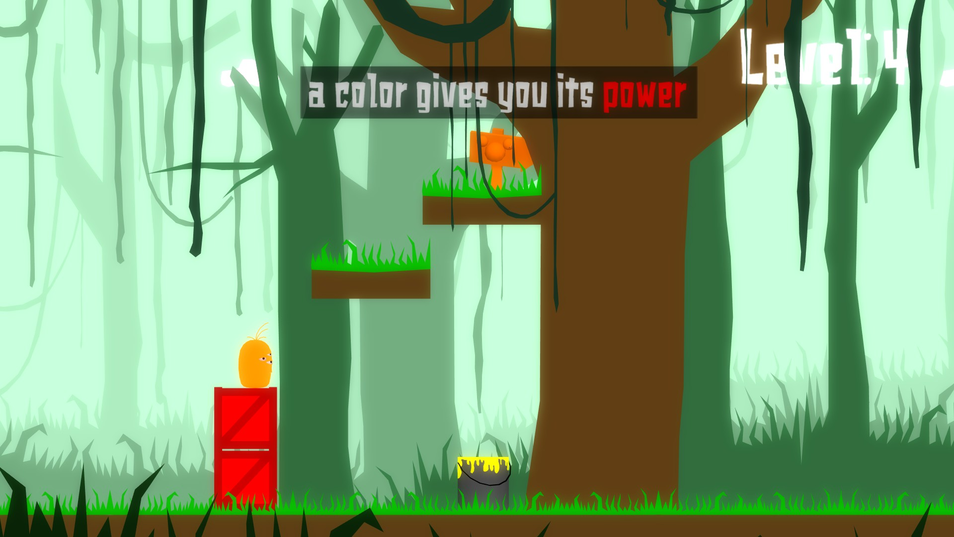 Coated level 4, orange main character standing on red boxes. an orange goal and yellow paint are nearby. Tutorial text reads: