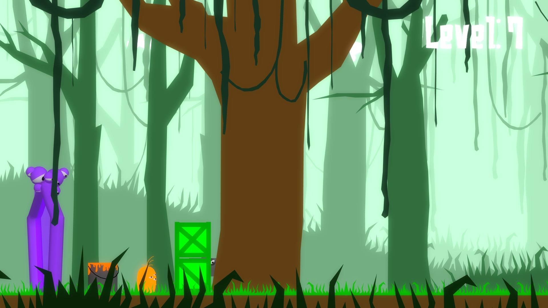Coated level 7, the orange main character is trapped between a purple wall and green boxes which cover the goal. Only an orange paint bucket is accessible.