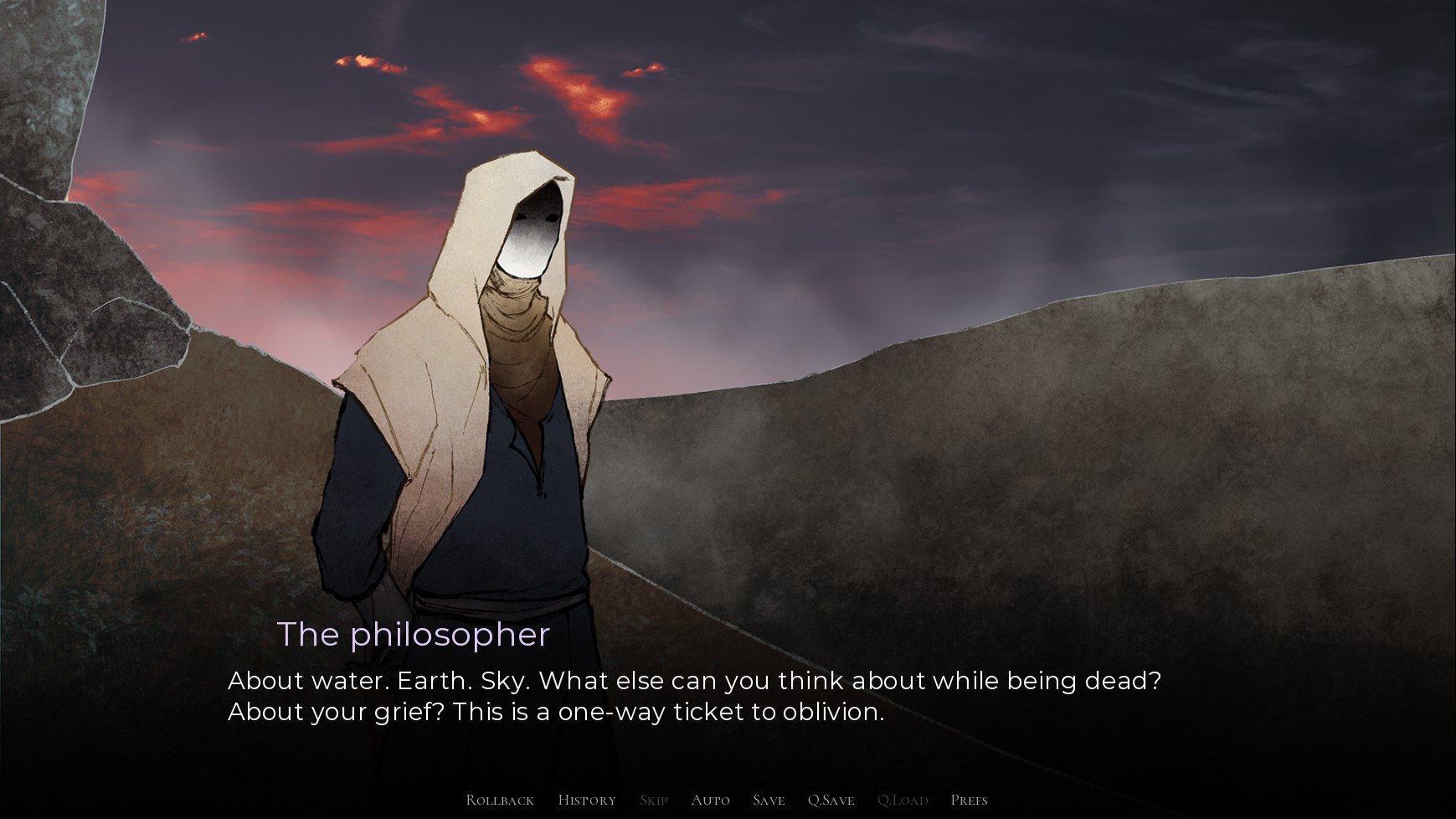 The philosopher character with a covered face says:
