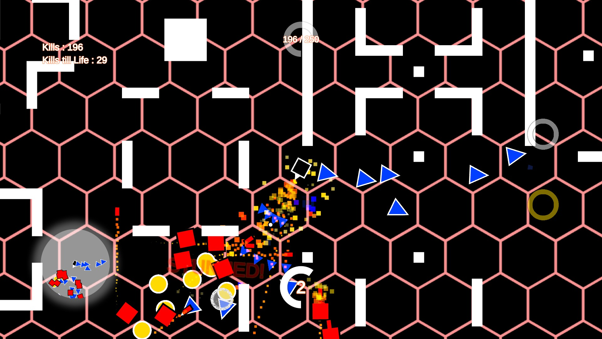 Its simple, shoot gameplay. Shows a black and white where the black and white square at the center is using a blue shotgun to fend off red squares, yellow circles, and blue triangles. One of the red enemies has been stunned.