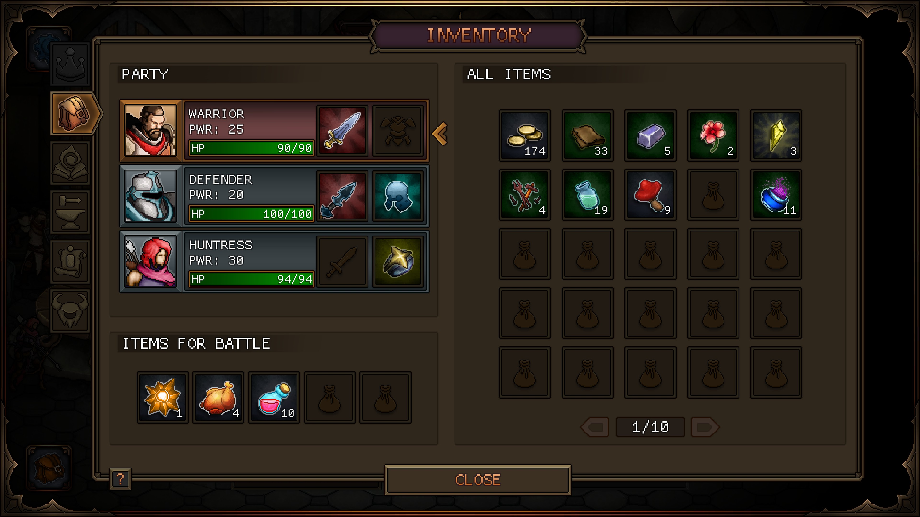 items equiped on heroes, quick access heals, and crafting ingredients carried