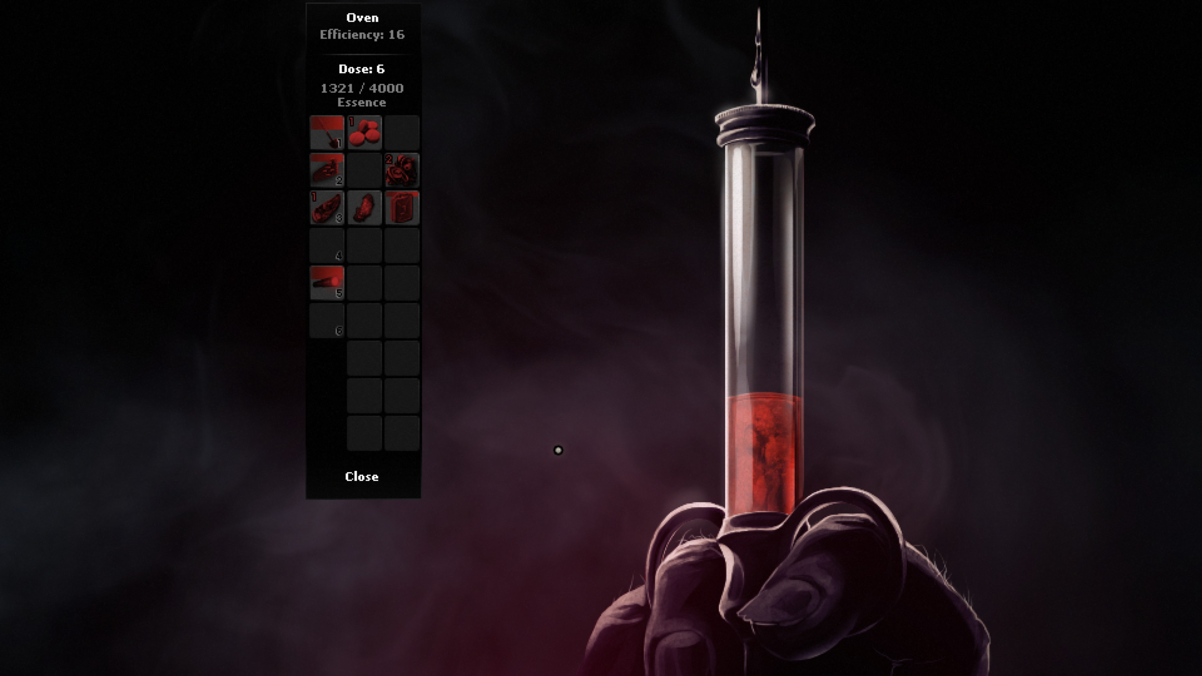syringe of red liquid. Items from inventory can be added to the oven to extract essence. Currently on dose 6.