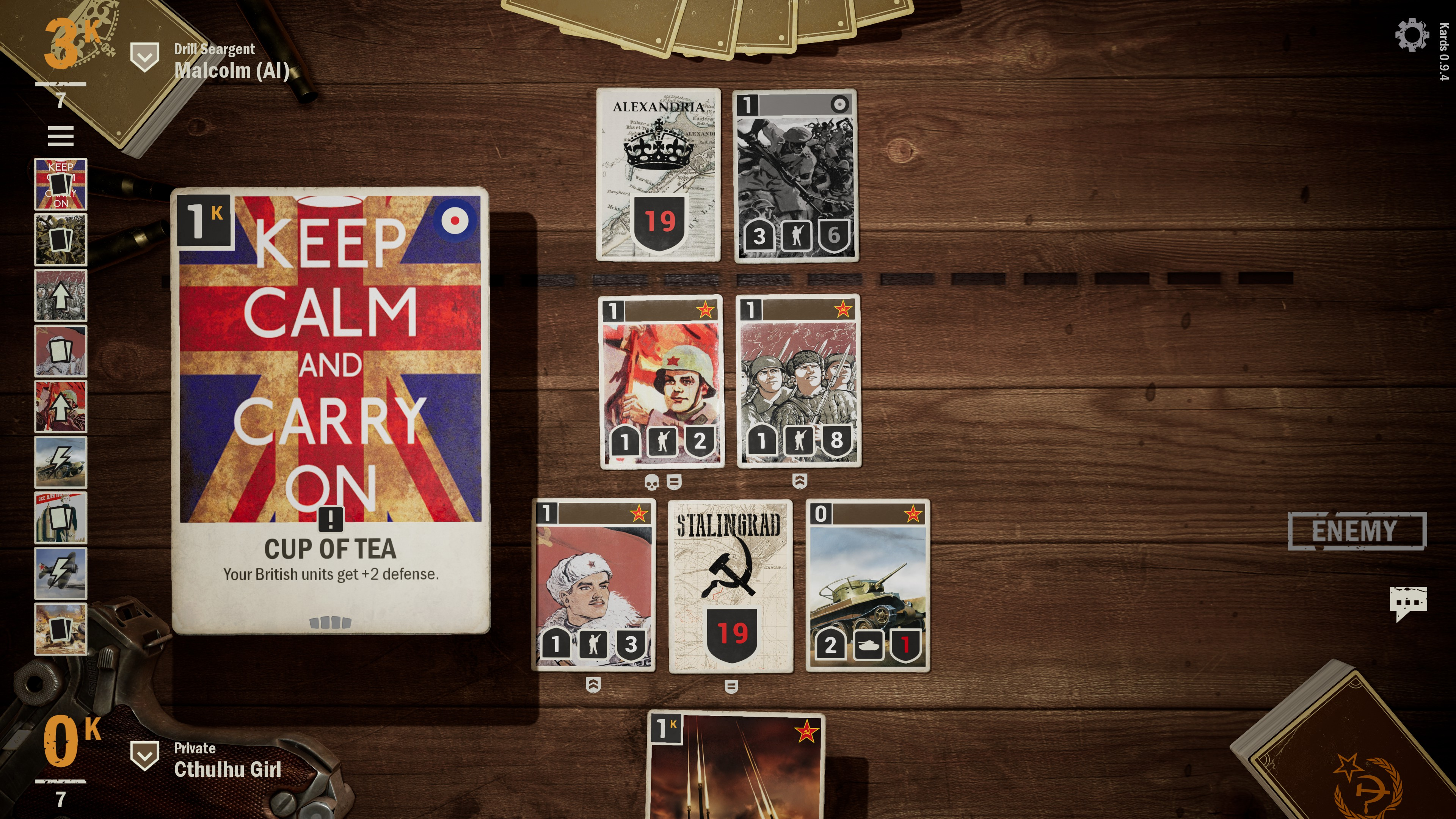 Britain order card called Cup of Tea. The image shows a british flag and the words keep calm and carry on. The card's effect is to give all the player's british units plus 2 defense.