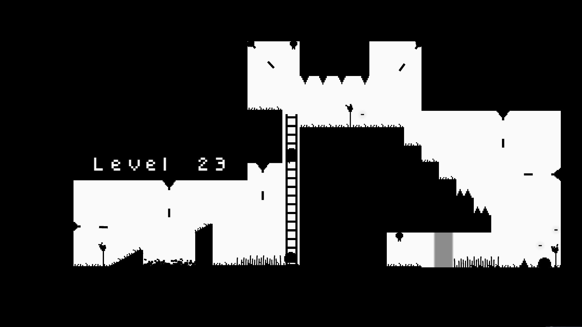 Blaite level 23. a ladder is in the center of the level up against a wall.