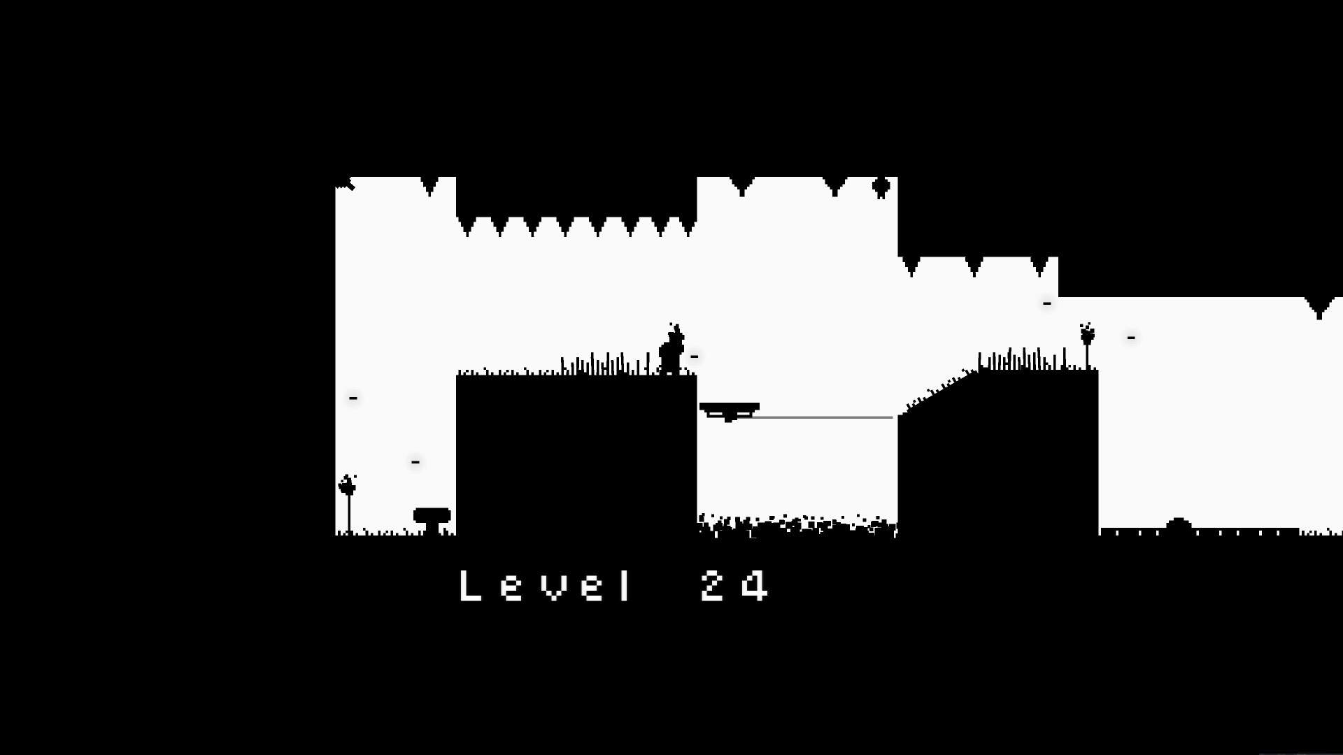 Blaite level 24. Spikes line the ceiling, which in turn becomes lower throughout the level