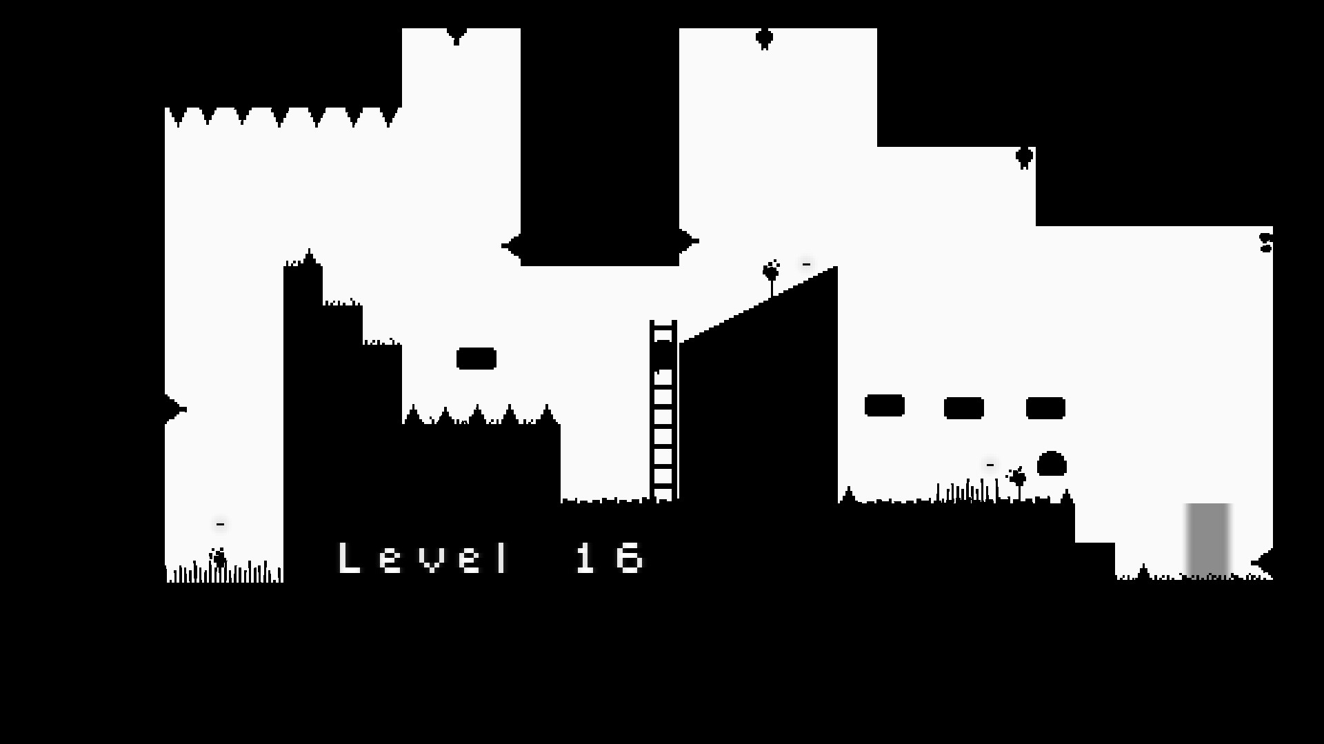 Blaite level 16. the character is climbing a ladder in the center of the screen and must run over several falling platforms past bats and a slime to reach the exit