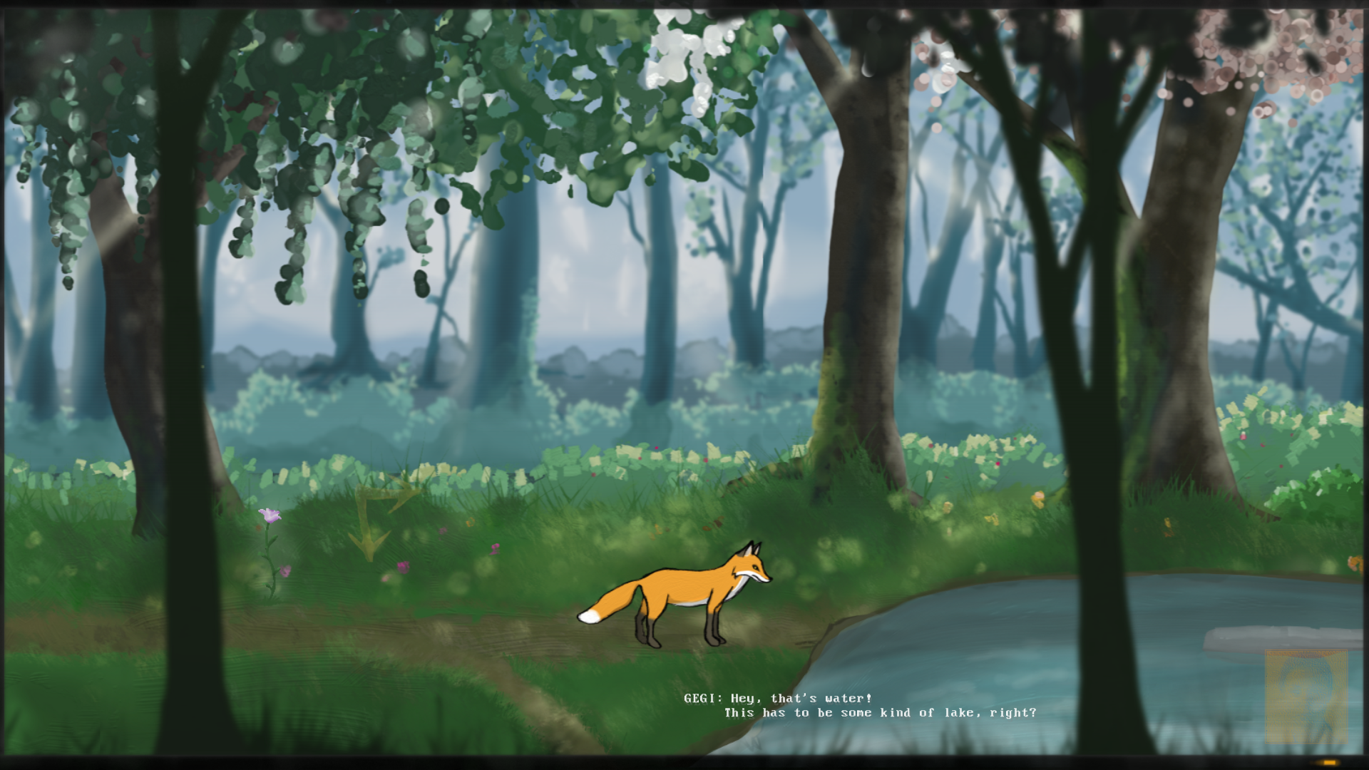 The fox of Auf Abwegen stands at a pond in the forest. Subtitles show the character Gegi saying