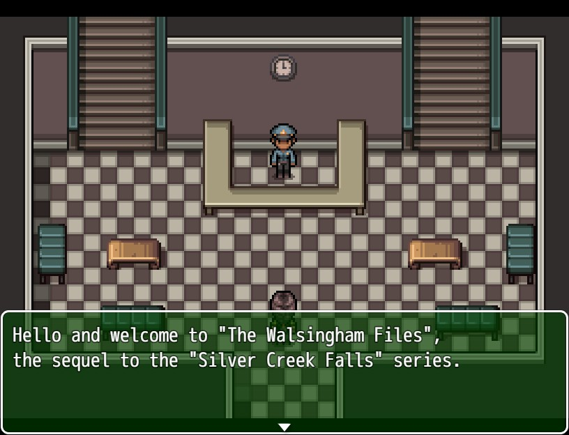 Police station entry way. Dialog text reads: Hello and welcome to The Walsingham Files, the sequel to the Silver Creek Falls series.