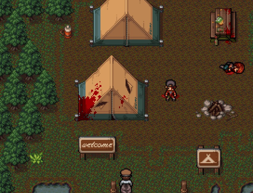 Camp ground with a welcome sign. Blood covers the first tent and two corpses lay next to the fire pit.