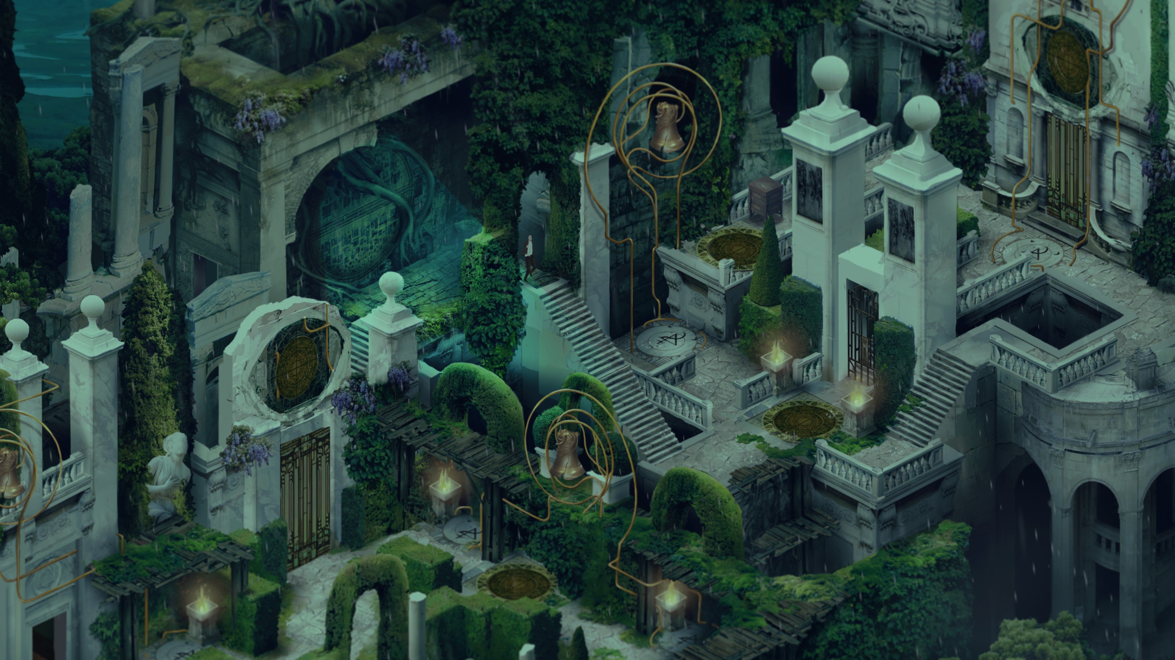 The main character of Pavilion walks through a garden of carved marble, ivy, and perfectly shaped bushes.