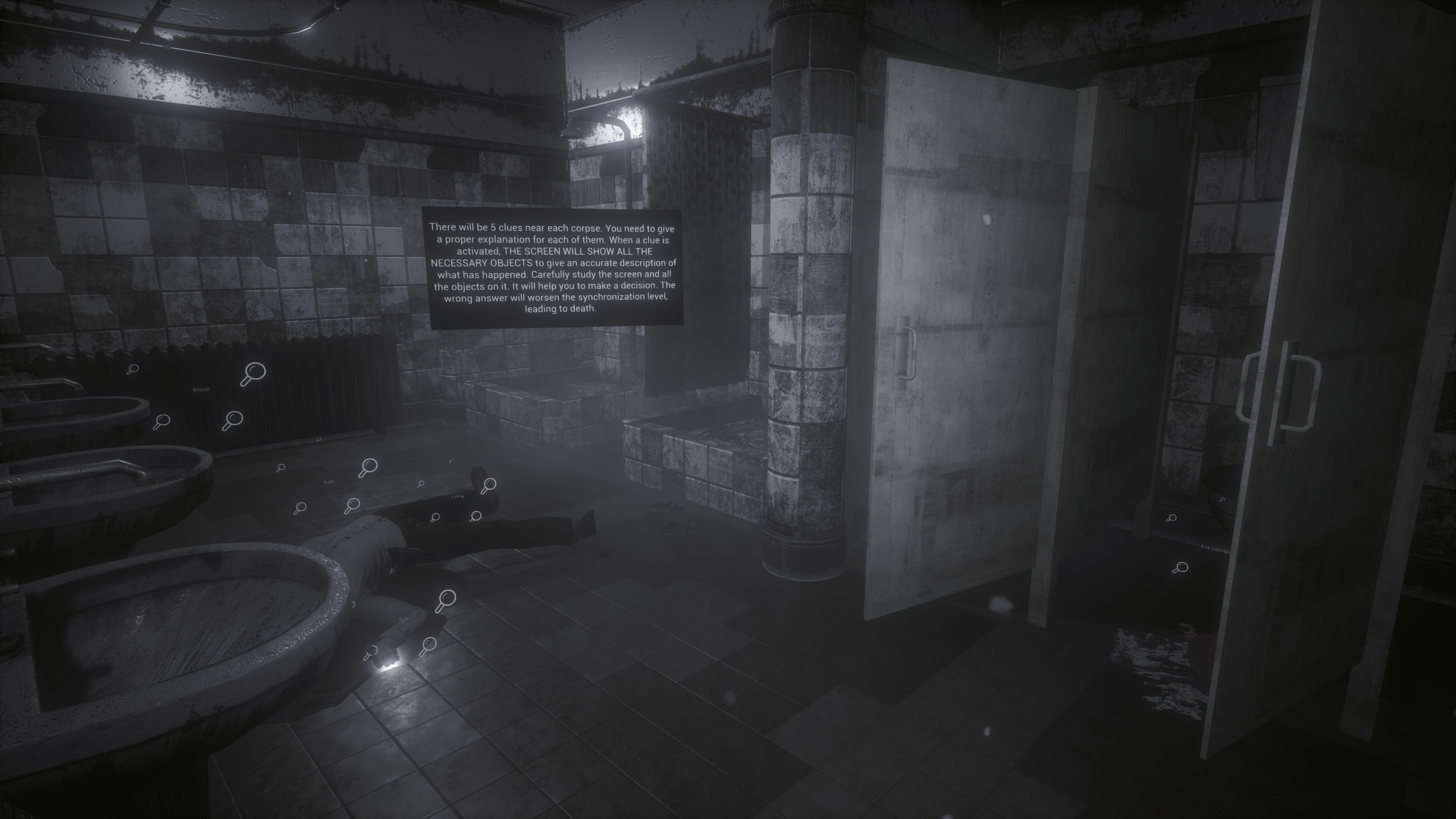 Disgusting bathroom with a male corpse on the floor. Magnifying glass symbols float around the corpse. Floating text over the corpse details how to gather clues around a corpse and that it's necessary to interact with all the objects to progress.