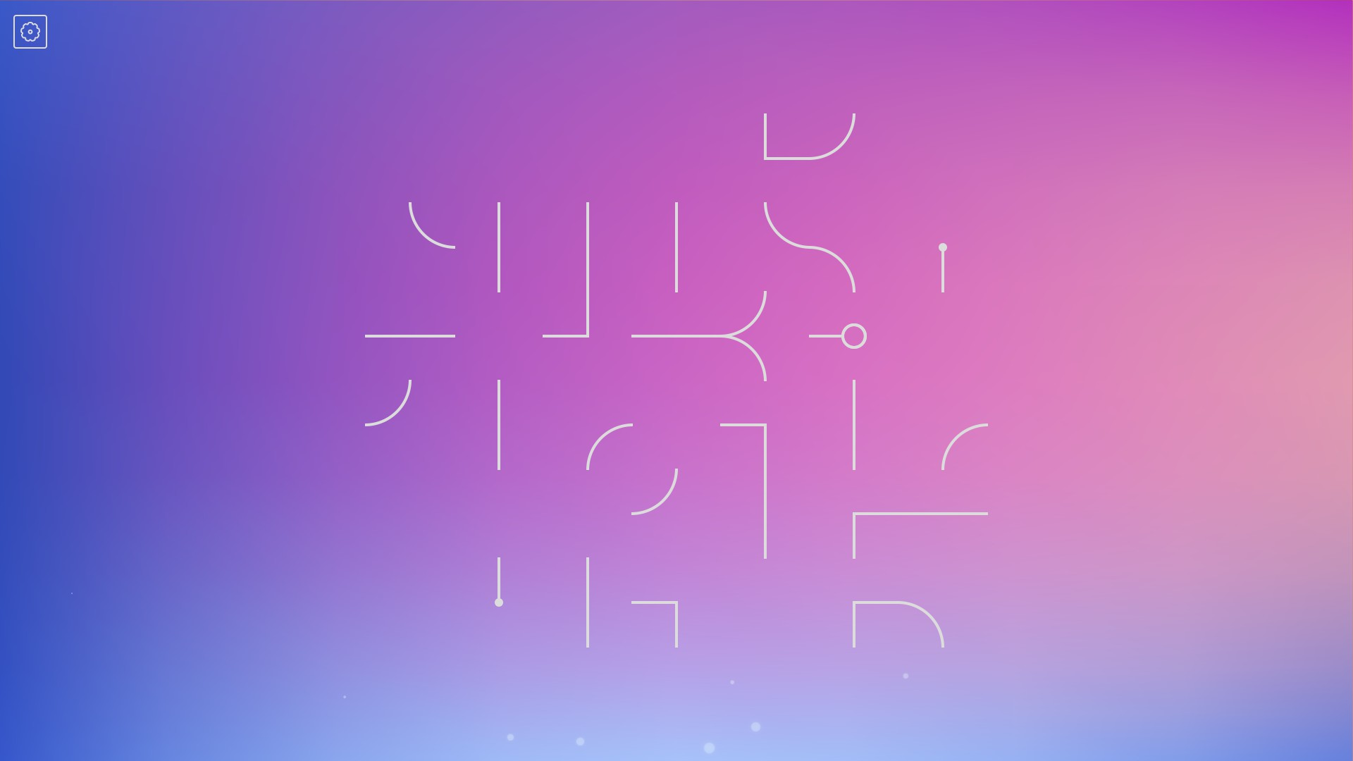 Fragmented white lines on a purple, pink, and blue gradient background