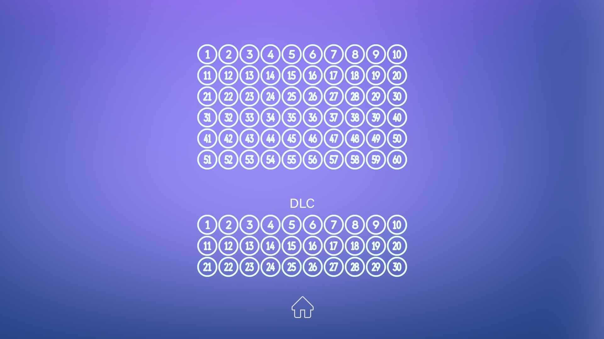 Level select screen with 90 levels available.
