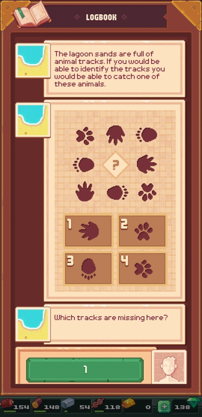 Visual puzzle of animal tracks in a grid. The tracks are from different animals and pointed in different directions. One track has been replaced with a question mark and the text asks the player to decide what track should go there from 4 options.