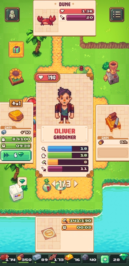 A card representing Oliver the gardener is in the center of the screen. At the top is an option to fight a crab at a dune. To the right is an option to saw wood. To the bottom is an option to build a fighting arena. To the left is an option to gather stone.