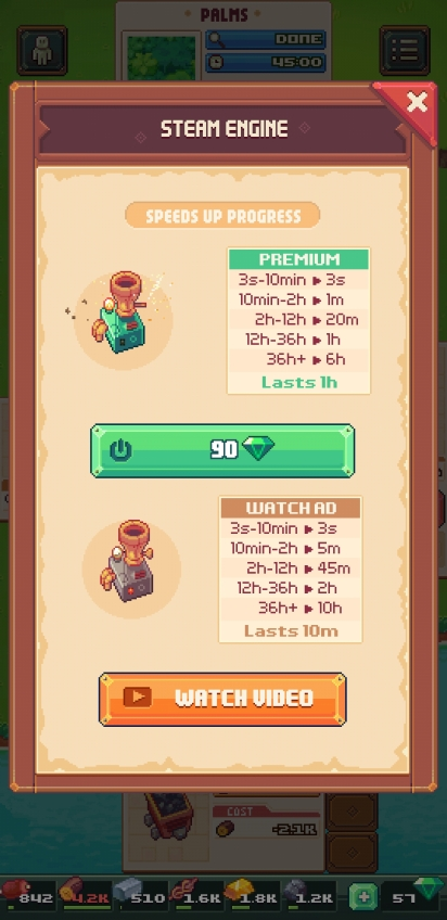 Option to speed up progress timers on Tinker Island. Timers from 3 seconds to 10 minutes become 3 seconds. 10 minutes to 2 hours becomes 1 minute. 2 hours to 12 hours becomes 20 minutes. 12 hours to 36 hours becomes 1 hour. and 36 hours of more becomes 6 hours. The effect lasts 1 hour.